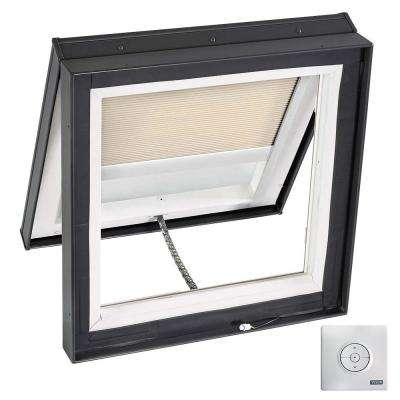 22-1/2 in. x 22-1/2 in. Solar Powered Venting Curb-Mount Skylight with Laminated Low-E3 Glass Beige Room Darkening Blind
