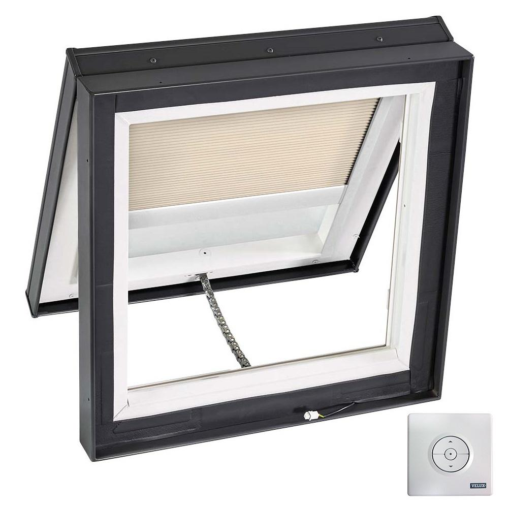Velux 30 1 2 in x 30 1 2 in solar powered venting curb for Velux solar powered blinds