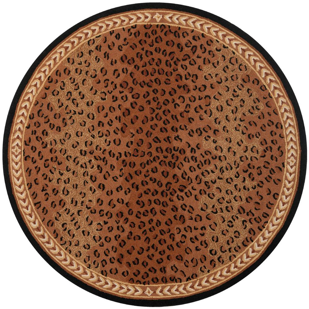 Safavieh Chelsea Black Brown 7 Ft X 7 Ft Round Area Rug