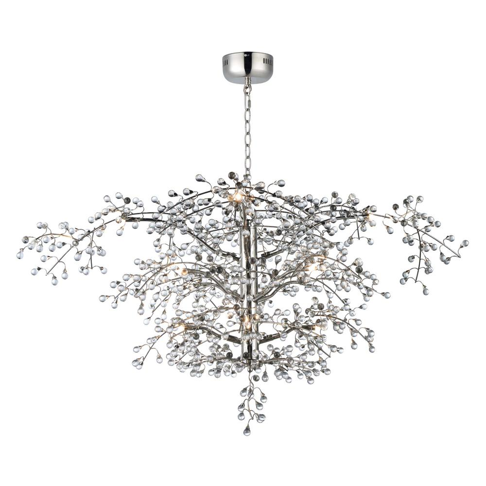 Maxim Lighting Cer 47 In W 12 Light Polished Nickel Chandelier With Clear Shade