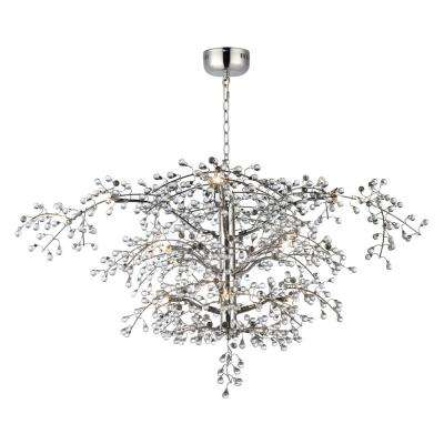 Cluster 47 in. W 12-Light Polished Nickel Chandelier with Clear Shade