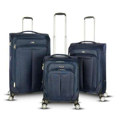 Toscana 3-Piece Softside Upright Spinner Luggage Set in Navy
