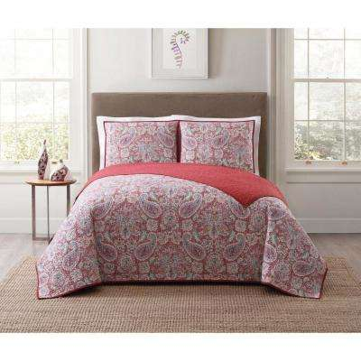 Manchester Red Multi Full and Queen XL Quilt Set