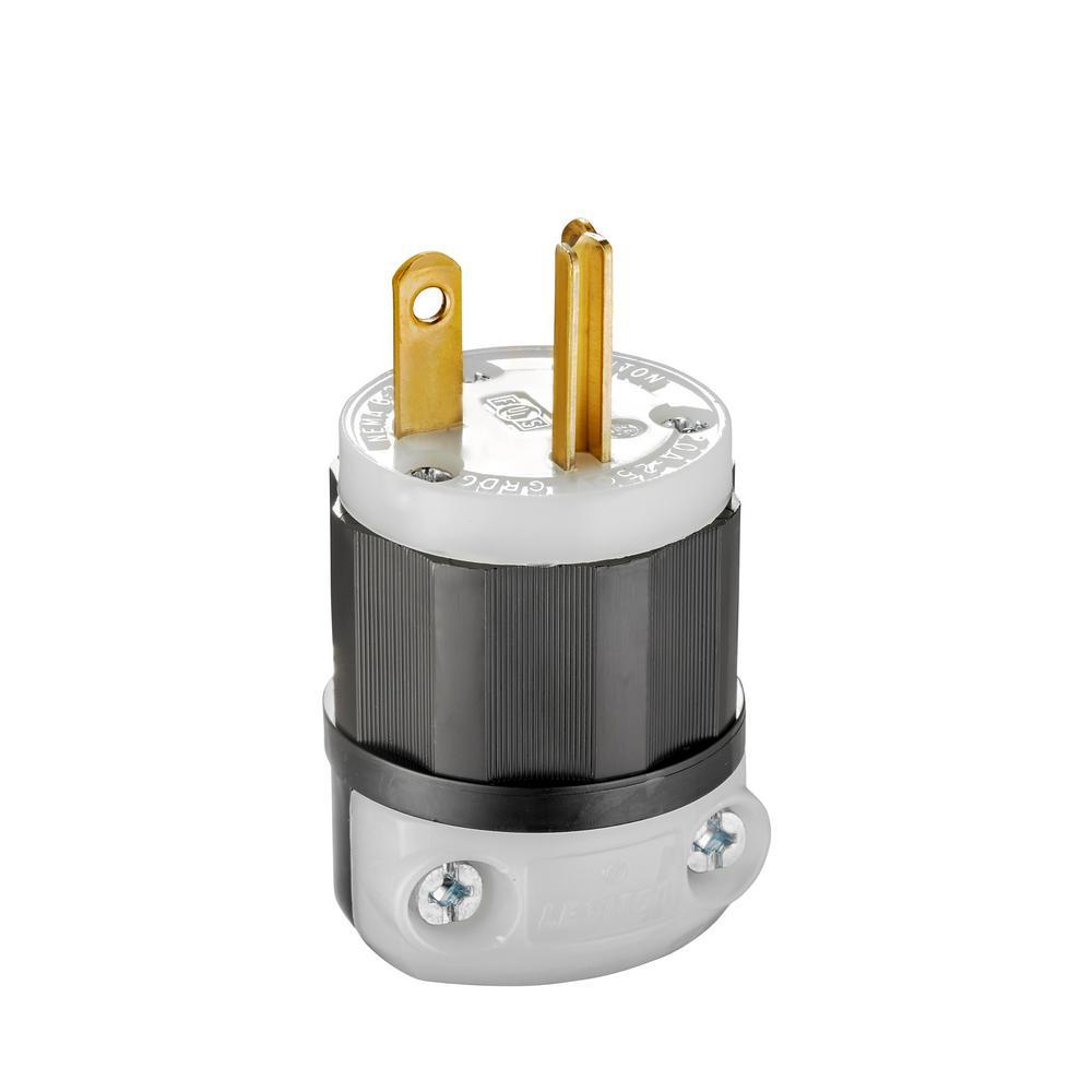 20 Amp 250-Volt Straight Blade Plug, Black and White