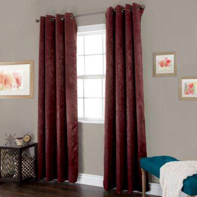Blackout Mila Bordeaux Polyester Black Out Curtain 54 in. W x 84 in. L