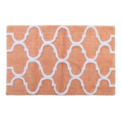 50 in. x 30 in. Bath Rug Cotton in Coral and White