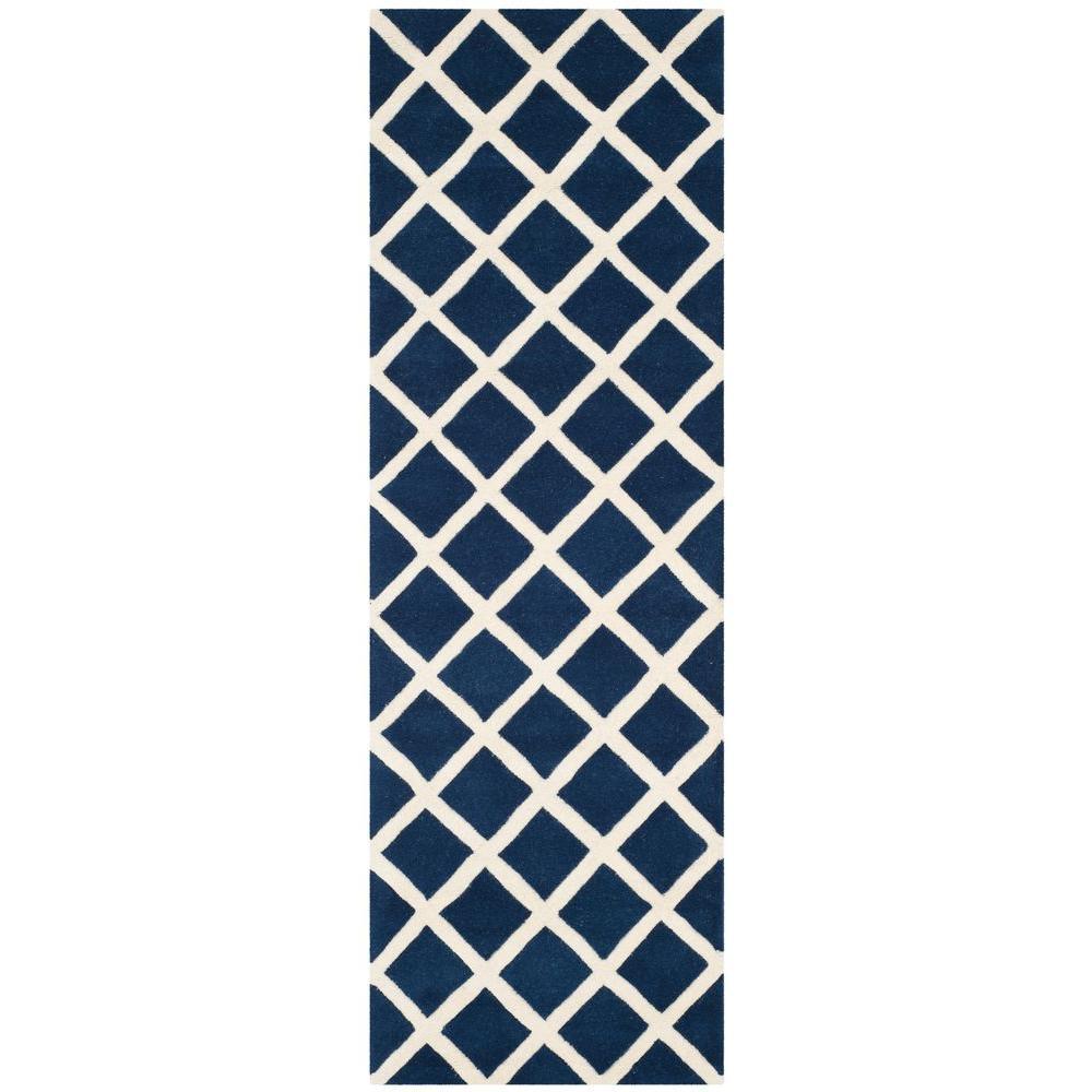 Safavieh Chatham Dark Blue/Ivory 2 ft. 3 in. x 9 ft. Runner