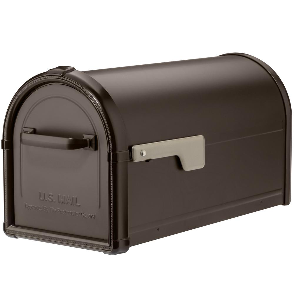Hillsborough Post Mount Mailbox in Rubbed Bronze
