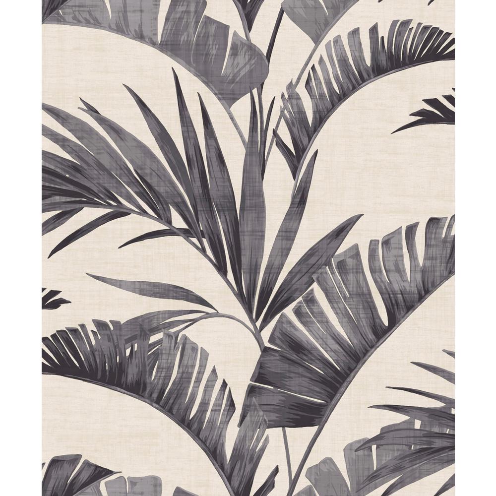 Banana Palm Charcoal Non-Woven Wallpaper