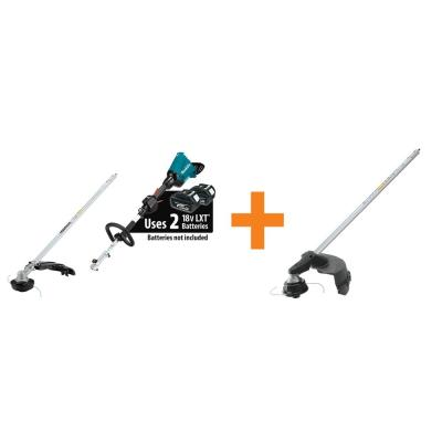 18-Volt X2 (36-Volt) LXT Couple Shaft Power Head with String Trimmer Attachment, Tool-Only and Brush Cutter Attachment
