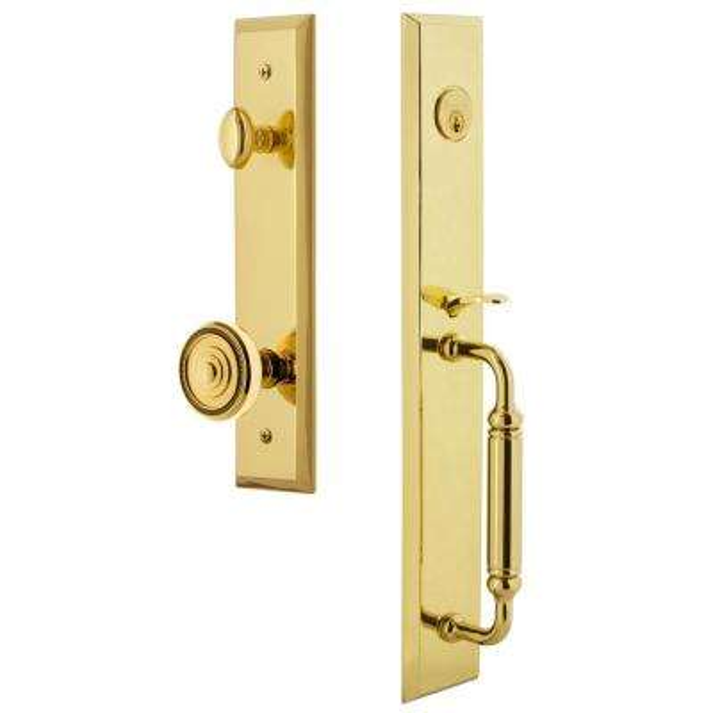 Fifth Avenue Lifetime Brass 1-Piece Dummy Door Handleset with C-Grip and Soleil Knob