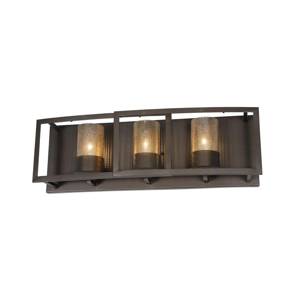 Varaluz Jackson 3-Light Rustic Bronze Vanity Light With Arched Windowpane  Glass