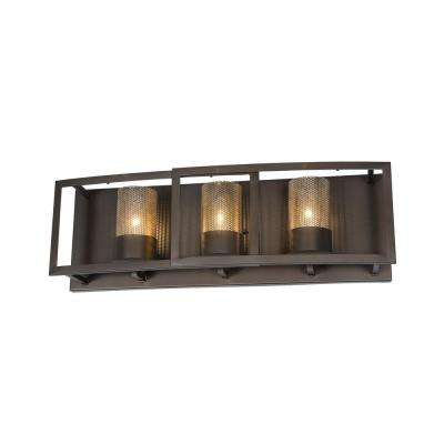 Jackson 3-Light Rustic Bronze Vanity Light with Arched Windowpane Glass