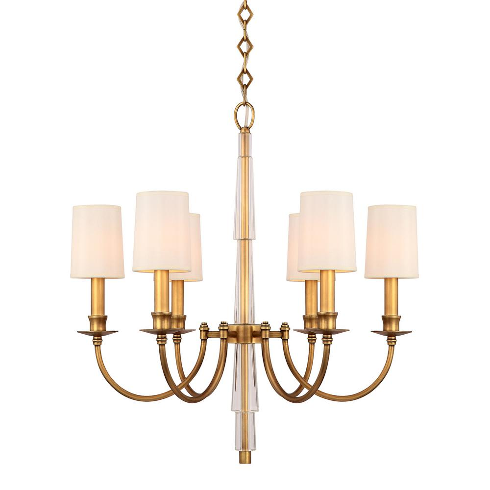 6 light aged brass chandelier shade 8706 ag the home depot 6 light aged brass chandelier shade arubaitofo Images