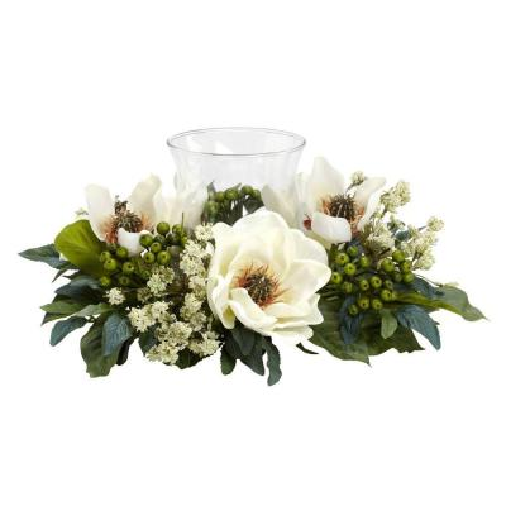 6.5 in. H White Magnolia Candelabrum Silk Flower Arrangement