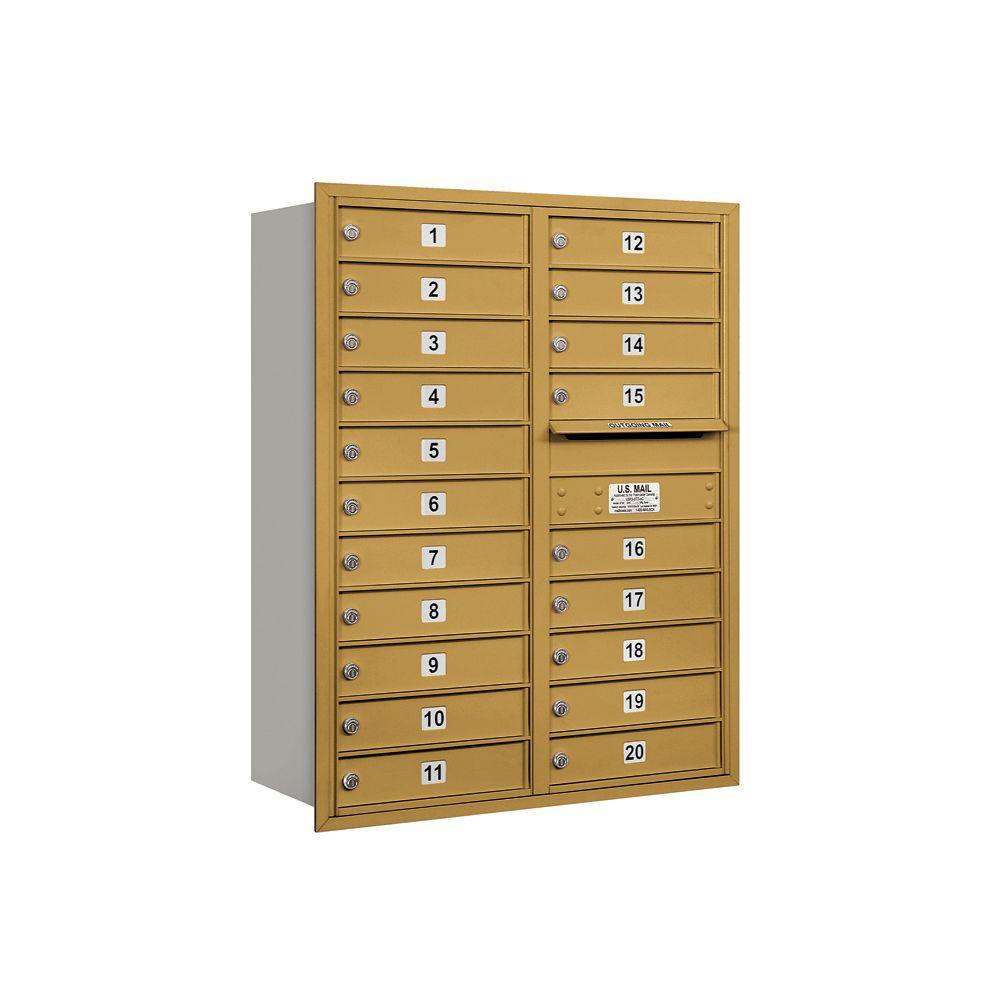 Salsbury Industries 3700 Series 41 in. 11 Door High Unit Gold Private Rear Loading 4C Horizontal Mailbox with 20 MB1 Doors