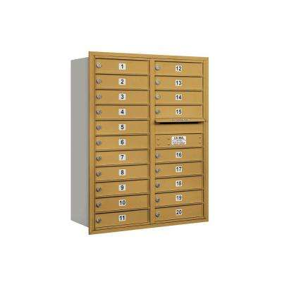 3700 Series 41 in. 11 Door High Unit Gold Private Rear Loading 4C Horizontal Mailbox with 20 MB1 Doors