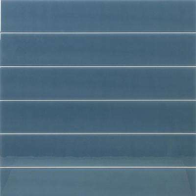 Cavanaugh Blue 4 in. x 24 in. x 10mm Polished Ceramic Subway Wall Tile (8 pieces / 5.16 sq. ft. / box)