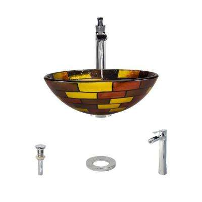 Glass Vessel Sink in Stained Glass with 731 Faucet and Pop-Up Drain in Chrome