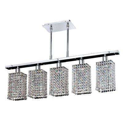 Fuzion X 5-Light Square Single Layer Crystal and Chrome Pendant