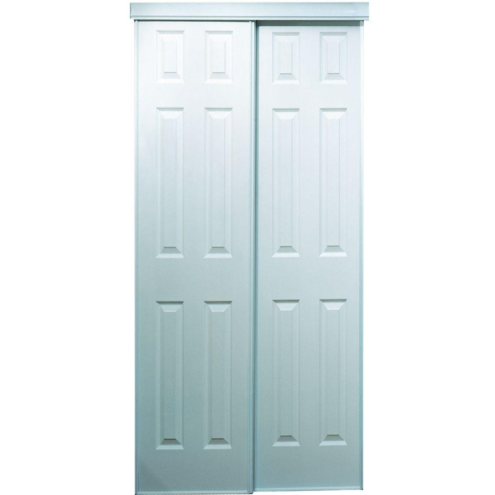 TRUporte 60 in. x 80 in. 106 Series Composite White Interior Sliding Door