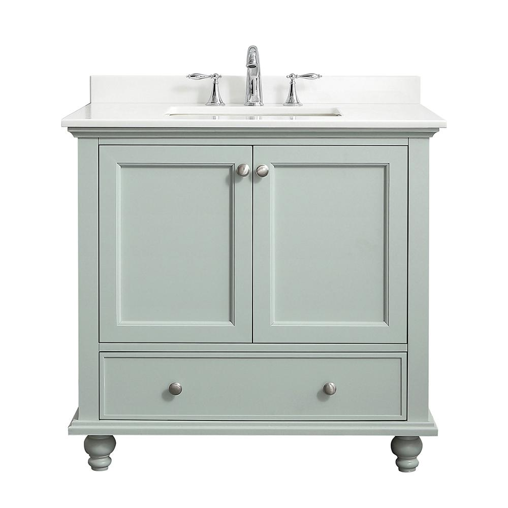 Home Decorators Collection Orillia 36 in. W x 22 in. D Vanity in Misty Latte with Marble Vanity Top in White with White Sink