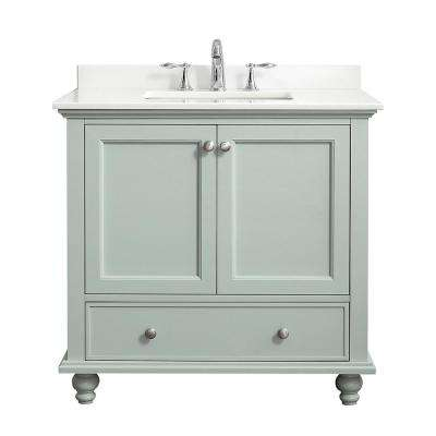 Orillia 36 in. W x 22 in. D Vanity in Misty Latte with Marble Vanity Top in White with White Sink