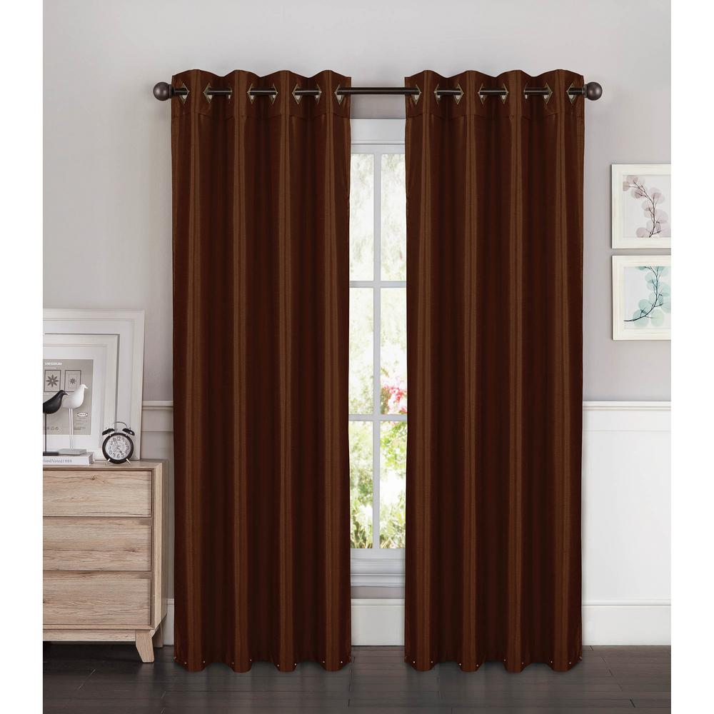 Semi-Opaque Kim Faux Silk Extra Wide 96 in. L Grommet Curtain