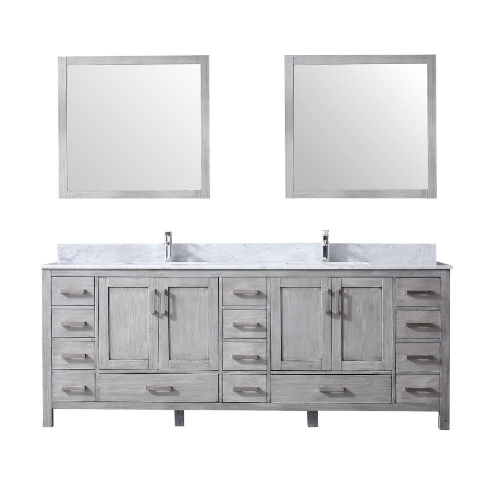 Lexora 84 in. Double Bath Vanity in Distressed Grey w/ White Carrera Marble  Top w/ White Square Sinks and 34 in. Mirrors