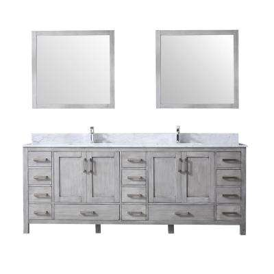 84 in. Double Bath Vanity in Distressed Grey w/ White Carrera Marble Top w/ White Square Sinks and 34 in. Mirrors