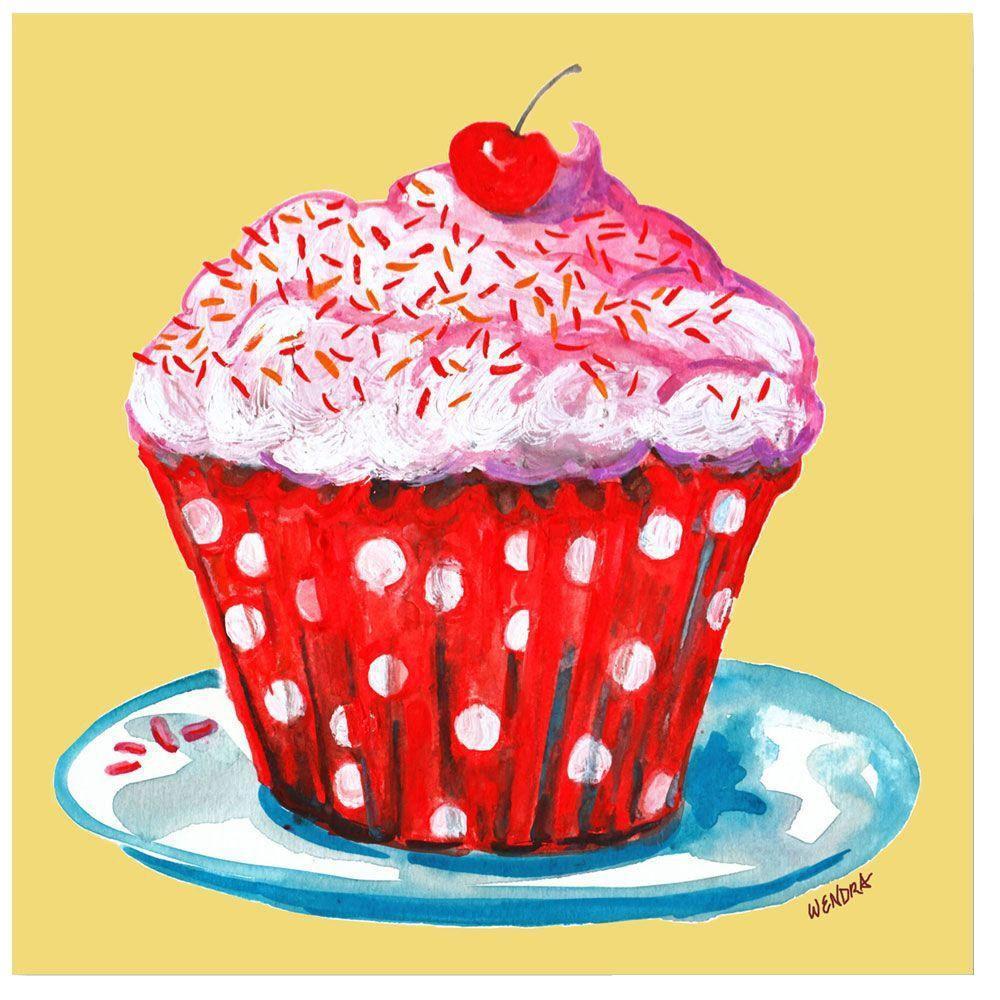 35 in. x 35 in. Cupcake Canvas Art