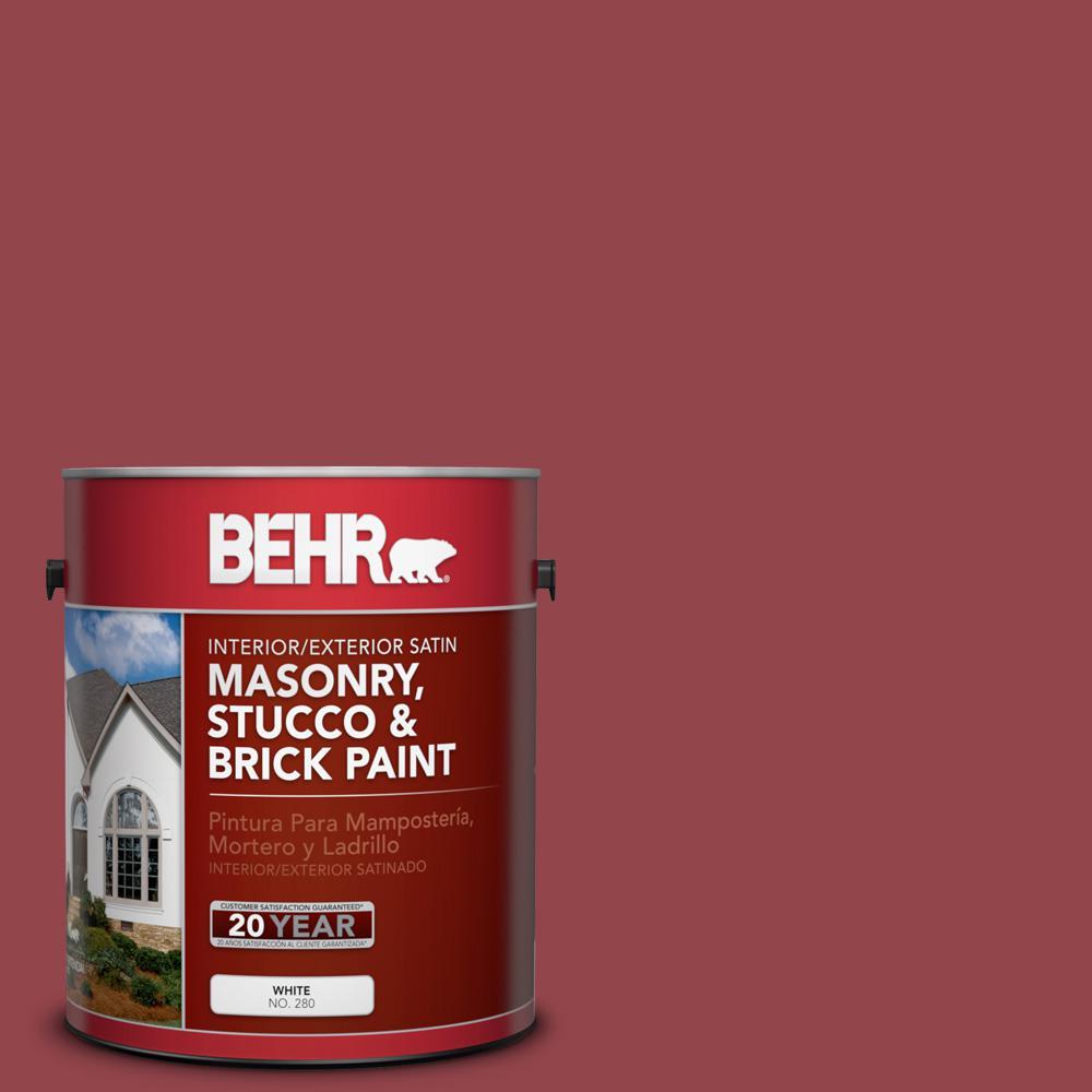 1 gal. #M140-6 Circus Red Satin Interior/Exterior Masonry, Stucco and Brick Paint