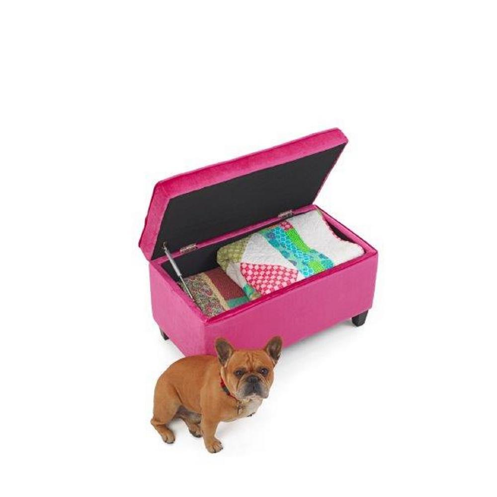 Girls Pink Storage Bench