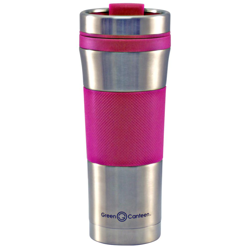 16 oz. Stainless Steel Double Wall Travel Mug with Pink Wrap