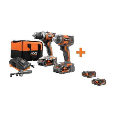 18-Volt Cordless Drill/Driver and Impact Driver Combo Kit with Bonus 18-Volt 1.5 Ah Lithium-Ion Battery (2-Pack)