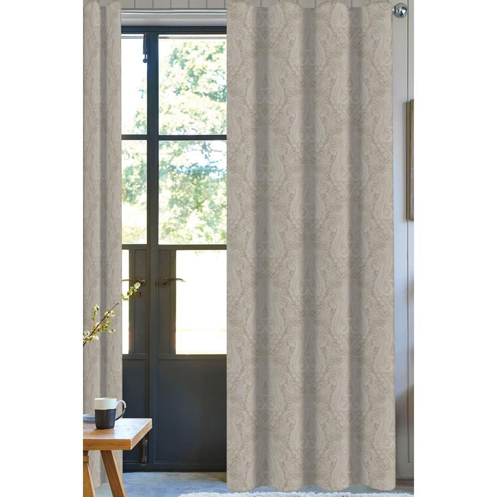 A1 Home Collections Neutral Paisley Designer Organic Cotton Drapery Panel in Beige - 50 in. x 96 in.