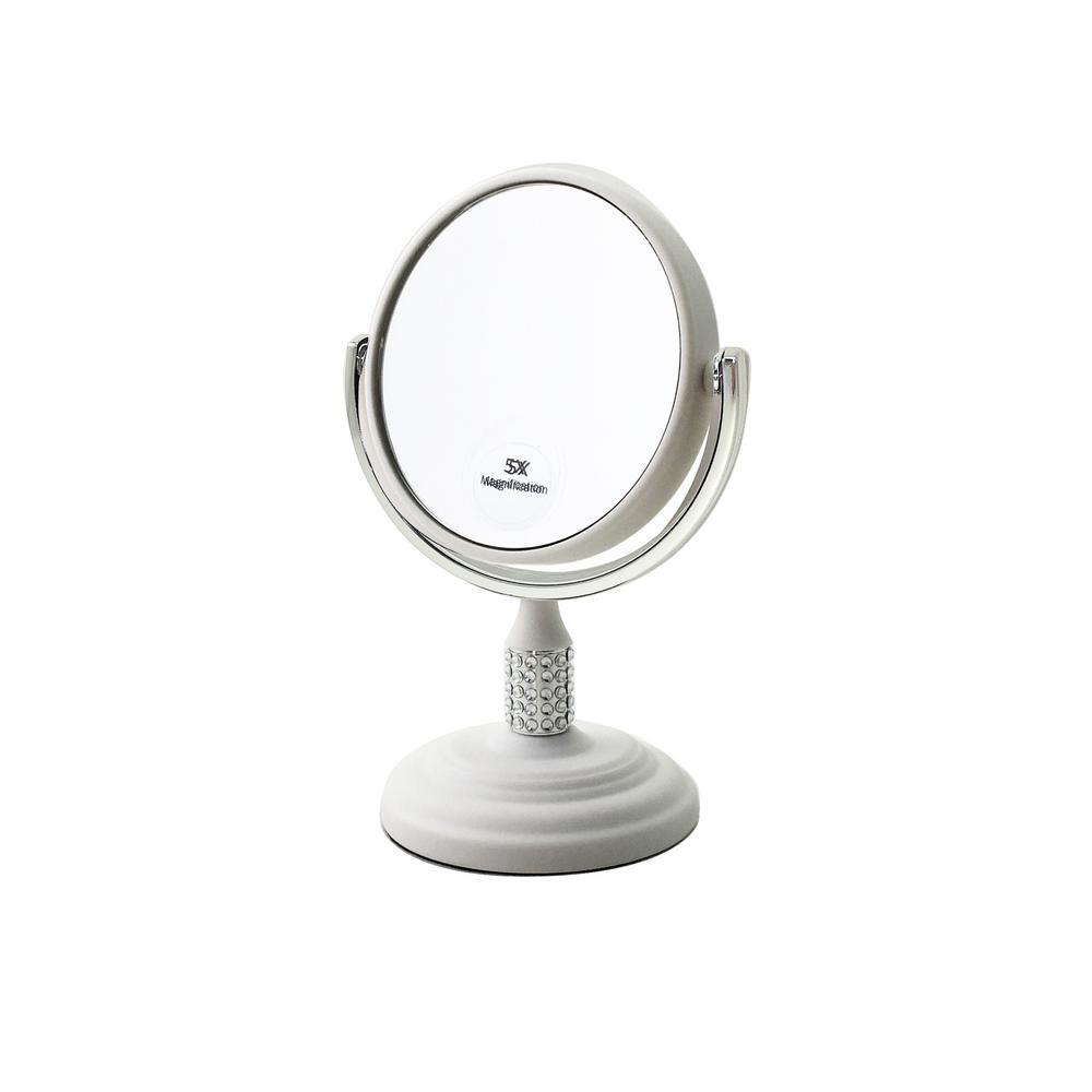 Calvin Mini dual 3 in. x 3 in. Makeup Mirror White