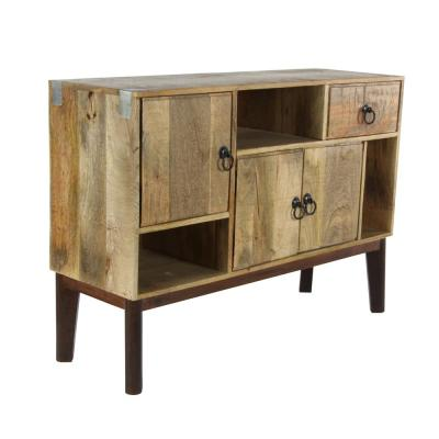 41 in. x 29 in. Mid-Century Modern Natural Wood Brown Cabinet with 5 Cabinets and 1 Drawer