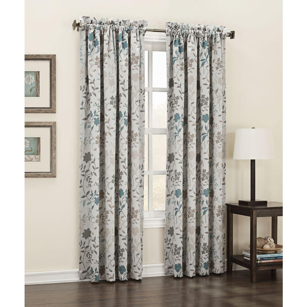Sun Zero Semi Opaque Stone Abington Floral Printed Room Darkening Curtain Panel 54 In W X 84