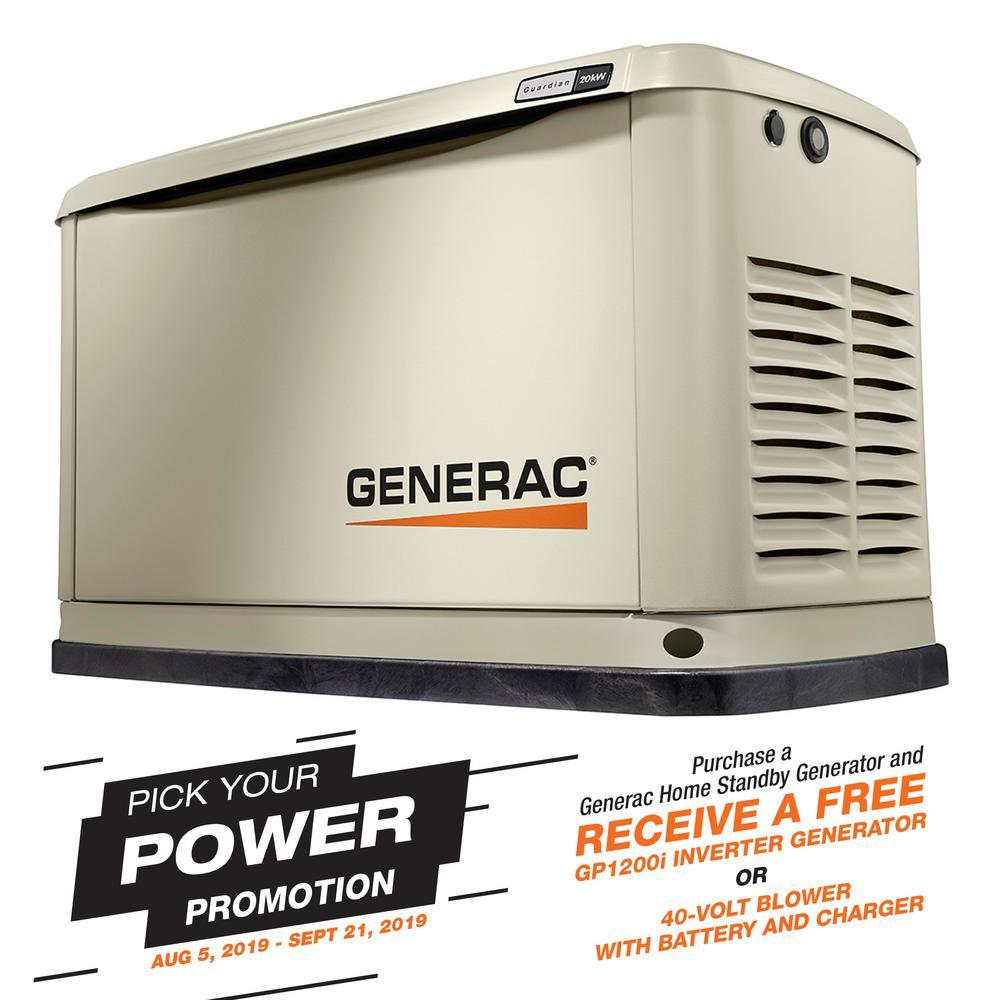 Guardian Series 20000-Watt (LP)/18000-Watt (NG) Air-Cooled Standby Generator with Wi-Fi