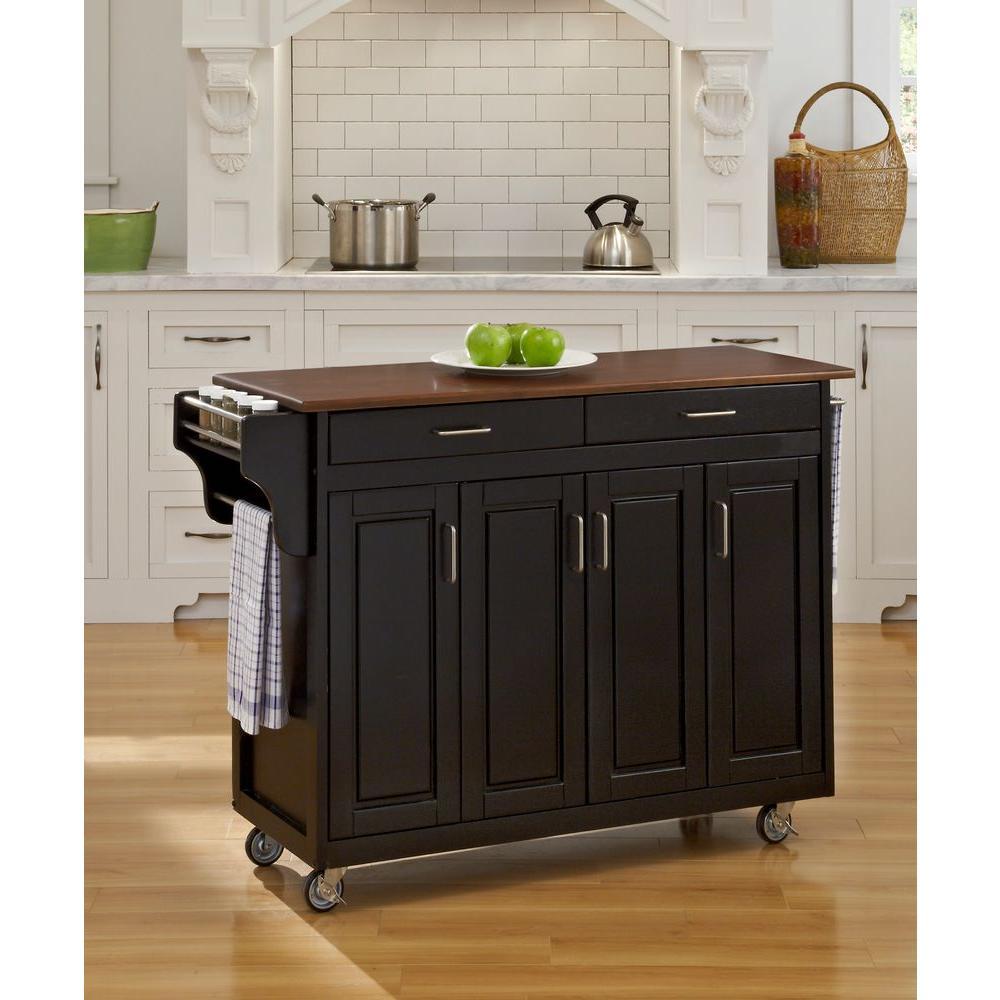 Create-a-Cart Black Kitchen Cart With Towel Bar