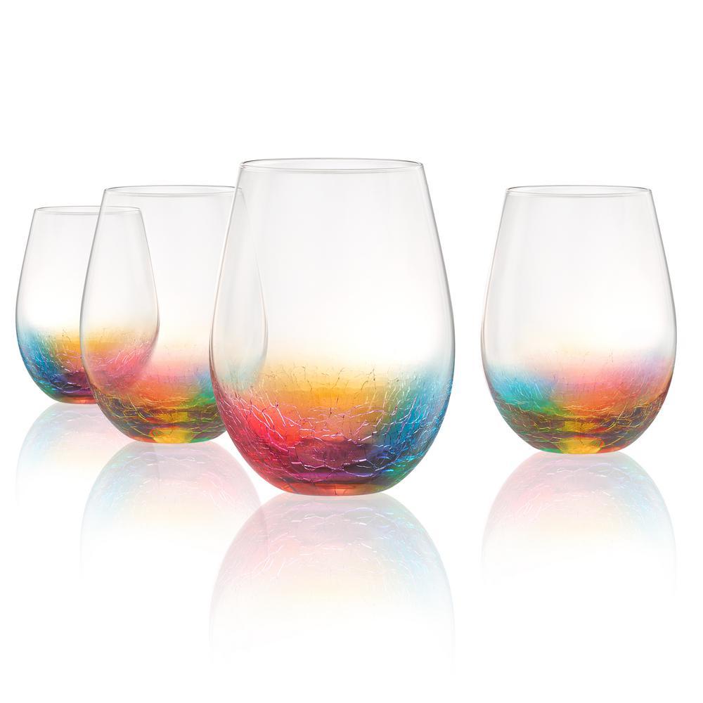 Neon 19 oz. Stemless Glass Set (4-Piece)