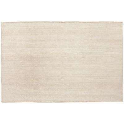 Washable Solid Textured Cream 3 ft. x 5 ft. Stain Resistant Accent Rug