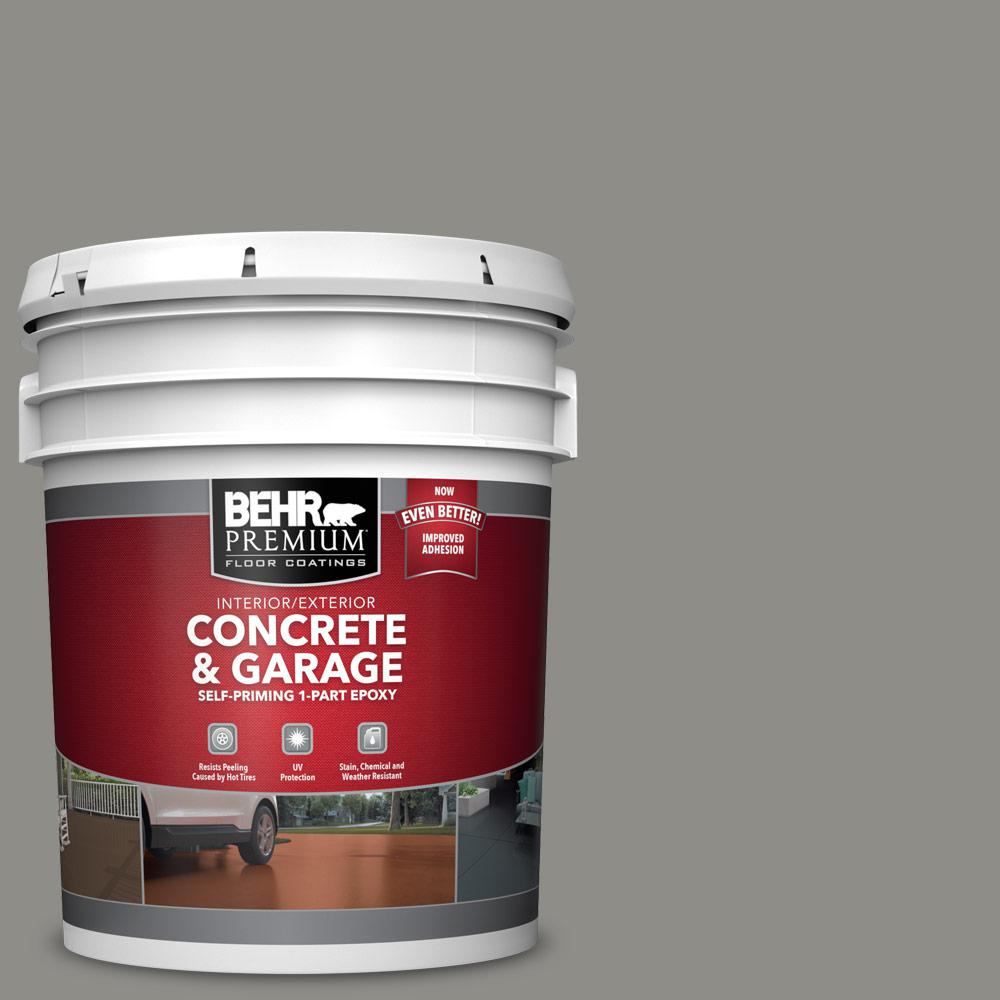BEHR PREMIUM 5 gal. #PFC-69 Fresh Cement 1-Part Epoxy Satin Interior/Exterior Concrete and Garage Floor Paint
