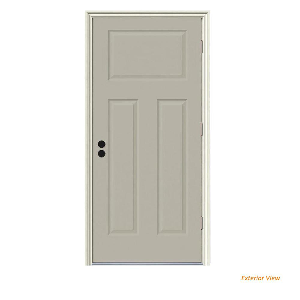 34 in. x 80 in. 3-Panel Craftsman Desert Sand Painted Steel Prehung Left-Hand Front Door w/Brickmould