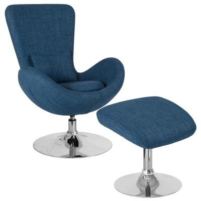 Blue Fabric Chair and Ottoman Set