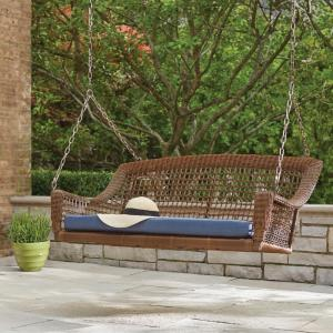 Lovely Hampton Bay Spring Haven Brown 2 Person Wicker Outdoor Swing With Blue  Cushion 65 10389Q   The Home Depot