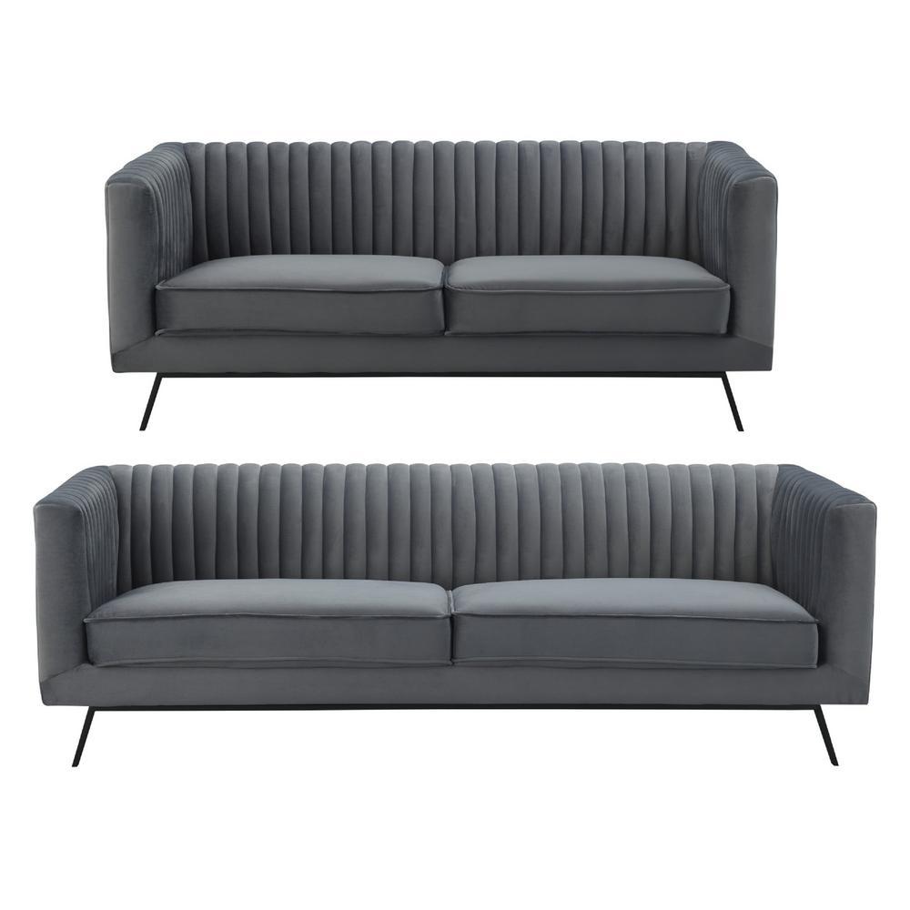 Madrid Taupe Beige Ultra Modern Living Room Furniture 3: Manhattan Comfort Vandam 2-Piece Charcoal Grey Velvet 3