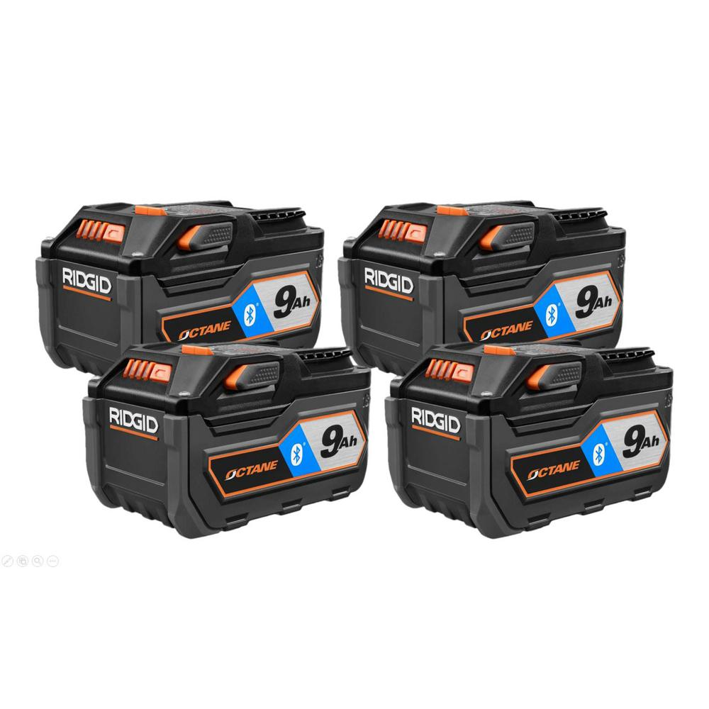 RIDGID 18-Volt OCTANE Bluetooth 9.0 Ah Battery (4-Pack)