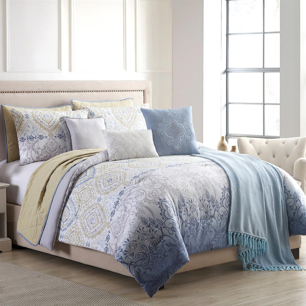 Dresden 10-Piece Multi-Color King Comforter/Coverlet Set